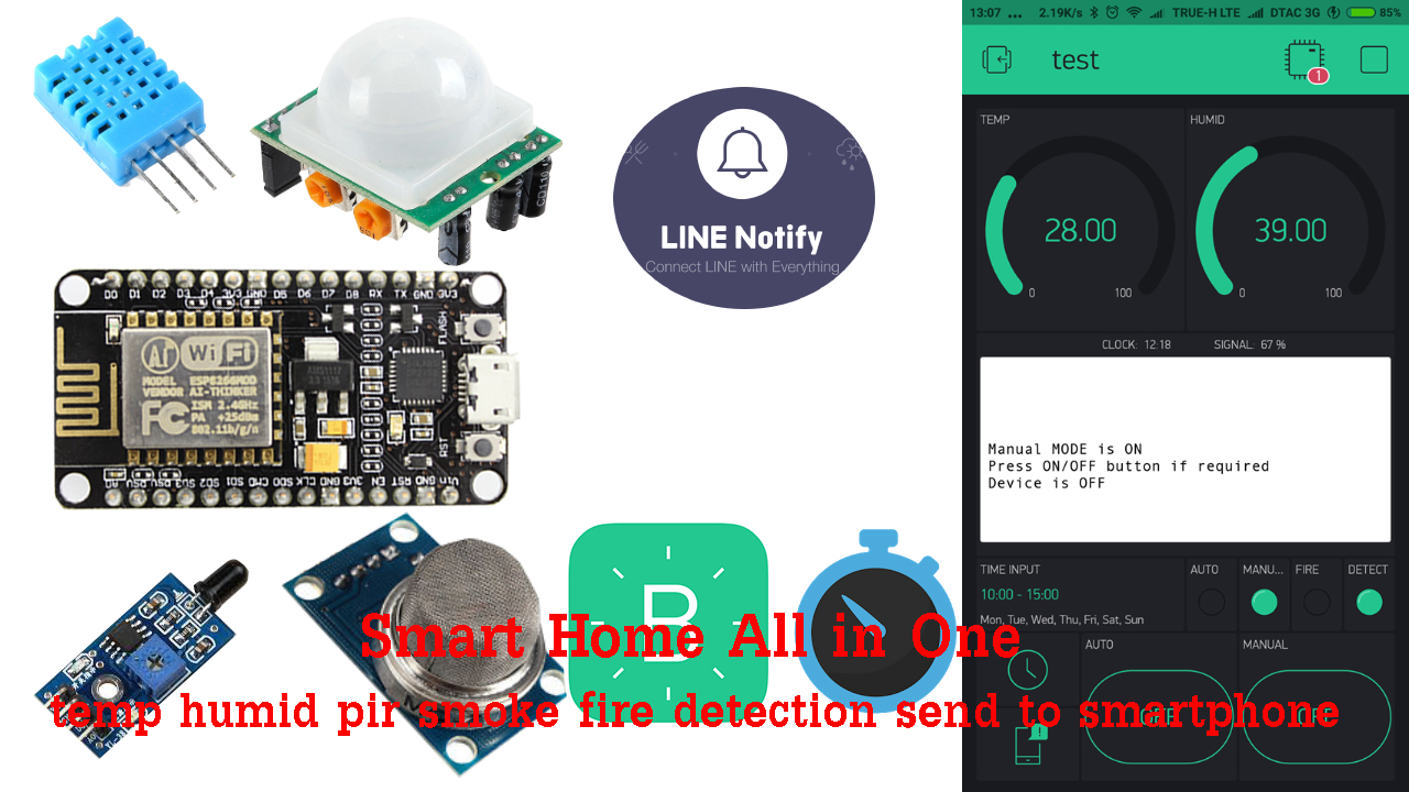 NodeMcu Blynk Smart Home ALL IN ONE EASY (video) - Projects made
