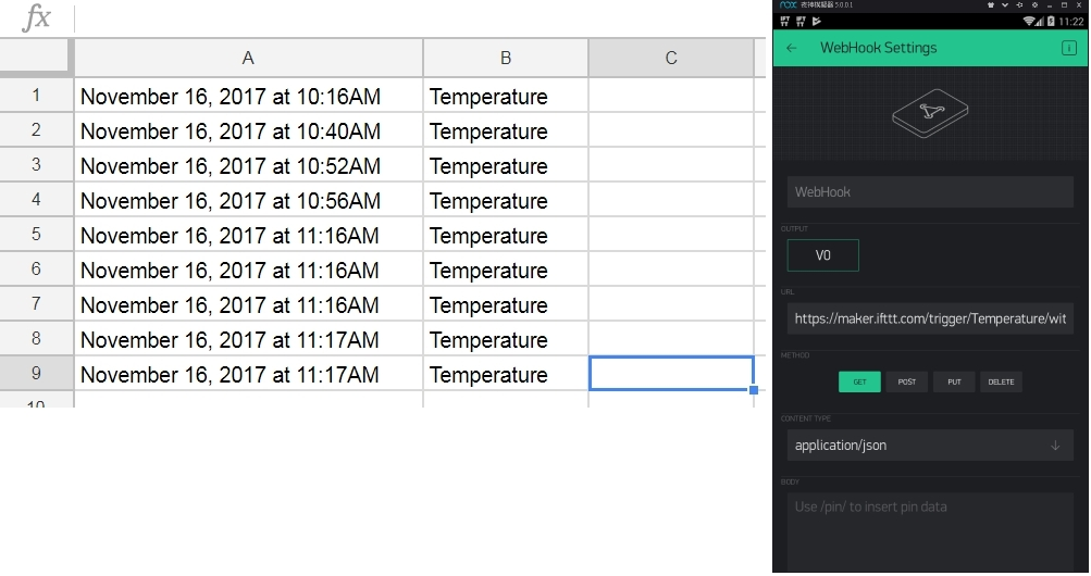 Google sheet doesn't show temperature value, is anything