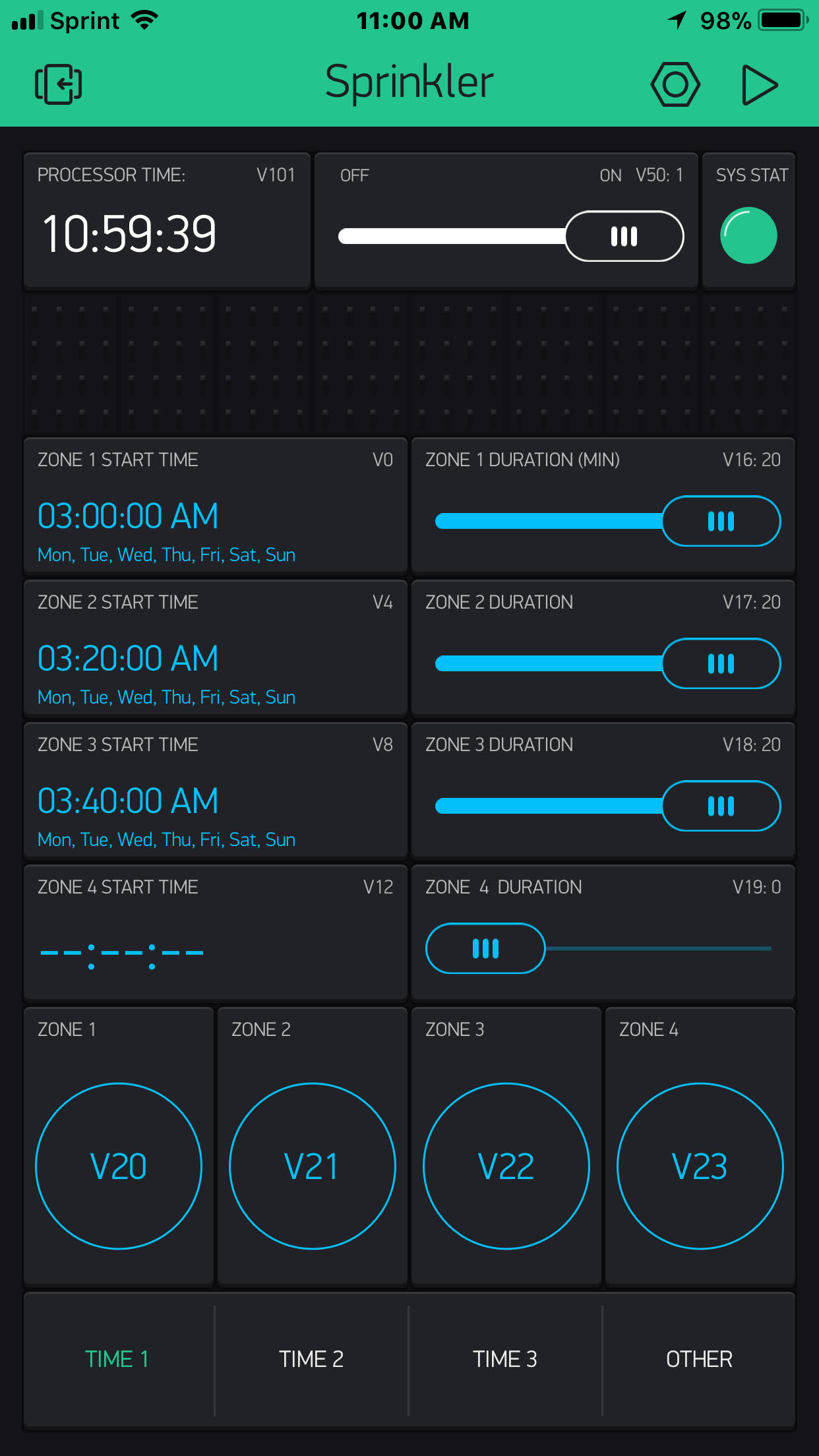 Simple 4 relay irrigation scheduler - Projects made with