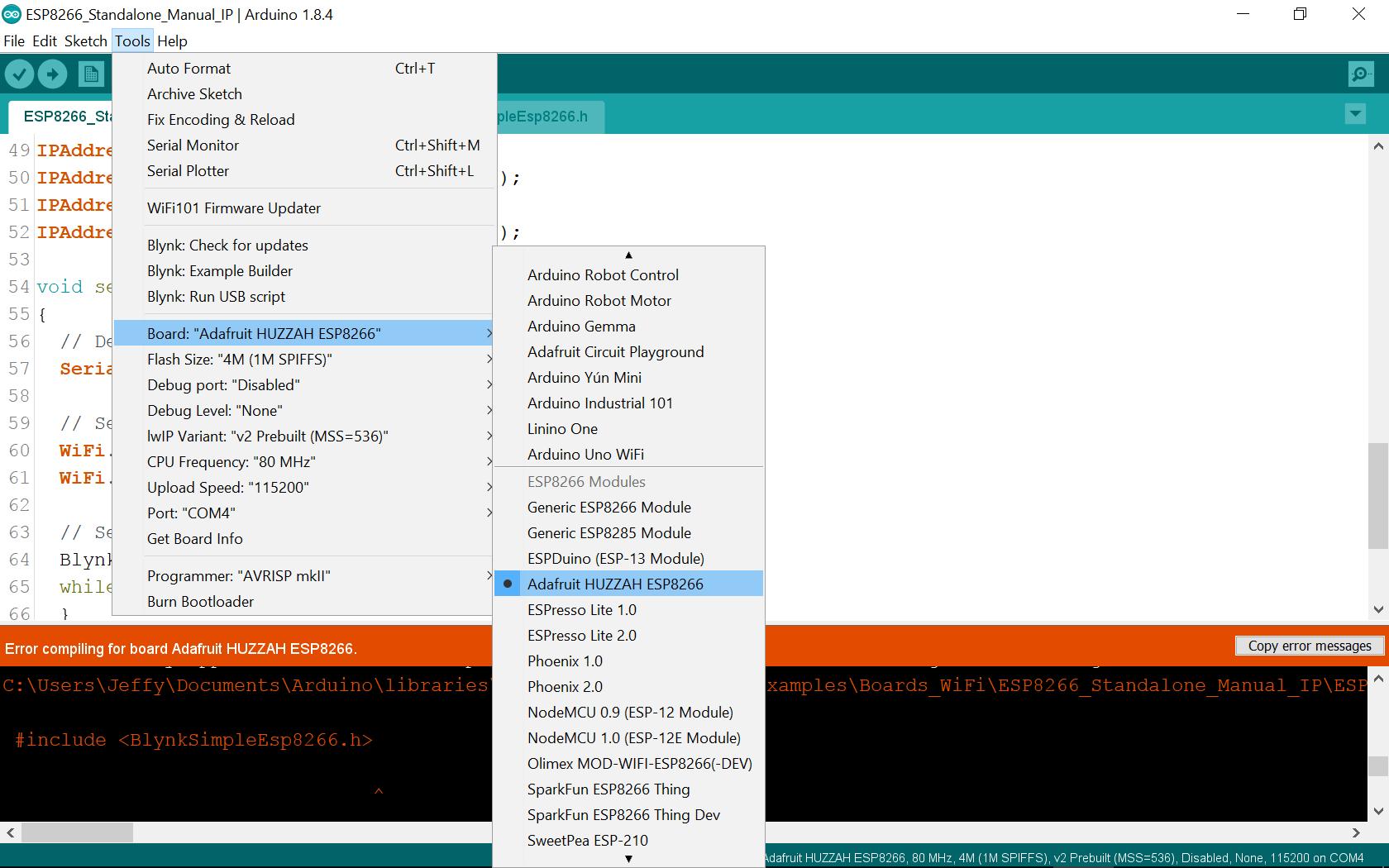 ESP 8266 StandAlone No Such File Error - Solved - Blynk